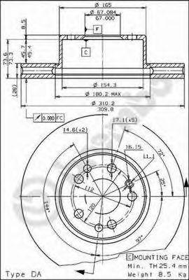 Тормозной диск BREMBO арт. 09572610