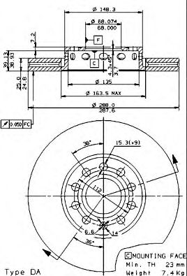 Тормозной диск BREMBO арт. 09574521