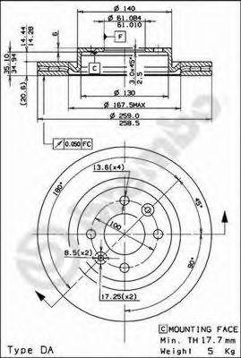 Тормозной диск BREMBO арт. 09580224