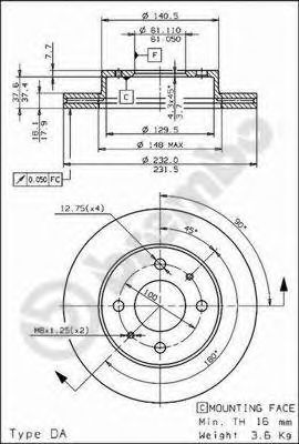Тормозной диск BREMBO арт. 09694310