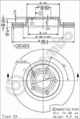 Тормозной диск BREMBO арт. 09719614