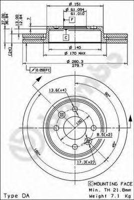 Тормозной диск BREMBO арт. 09813724