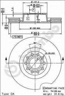 Тормозной диск BREMBO арт. 09832411