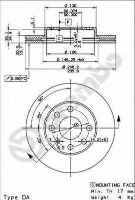 Тормозной диск BREMBO арт. 09863511