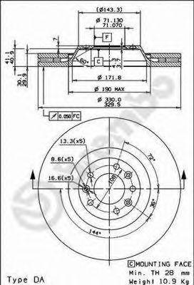 Тормозной диск BREMBO арт. 09867014