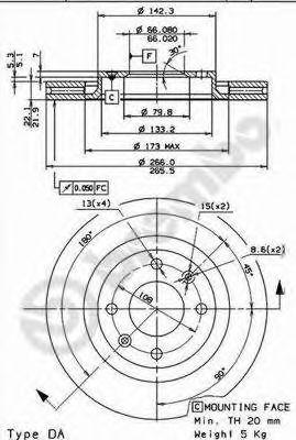 Тормозной диск BREMBO арт. 09869514