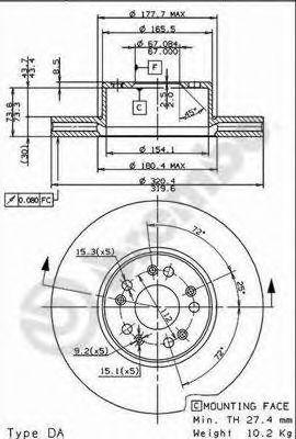 Тормозной диск BREMBO арт. 09872610