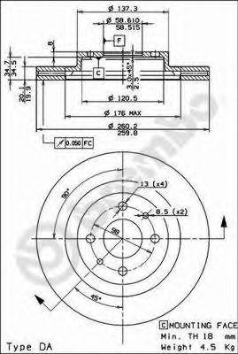 Тормозной диск BREMBO арт. 09890314