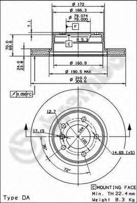 Тормозной диск BREMBO арт. 09917311
