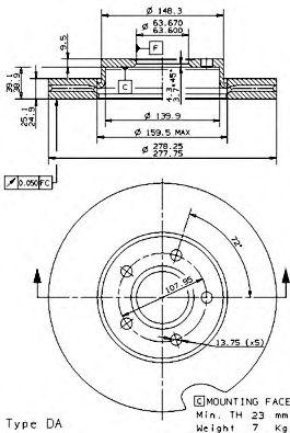 Тормозной диск BREMBO арт. 09946411