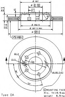 Тормозной диск BREMBO арт. 09958210