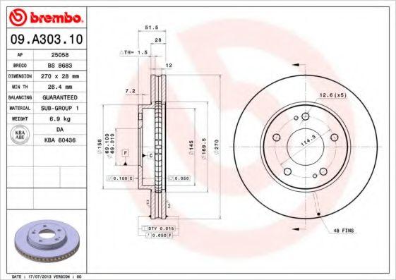 Тормозной диск BREMBO арт. 09A30310