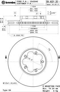 Тормозной диск BREMBO арт. 09A53120
