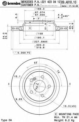 Тормозной диск BREMBO арт. 09A81811