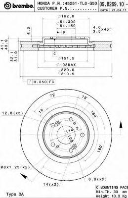 Тормозной диск BREMBO арт. 09B26910