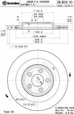 Тормозной диск BREMBO арт. 09B31211