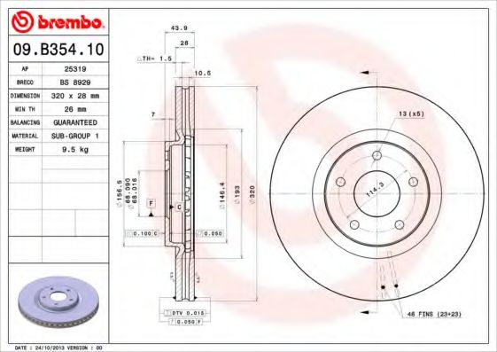 Тормозной диск BREMBO арт. 09B35410