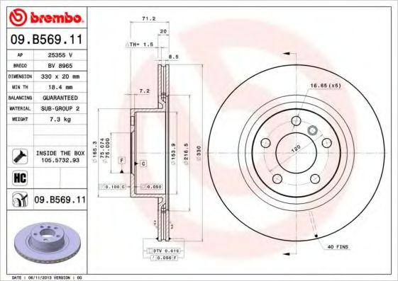 Диск гальмівний Brembo 09B56911