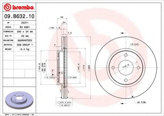 Диск гальмівний Brembo 09B63210