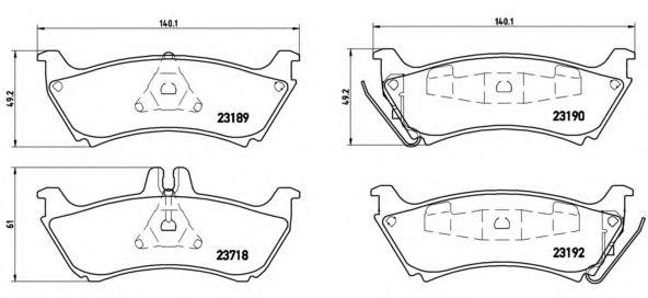 Комплект тормозных колодок, дисковый тормоз BREMBO арт. P50044