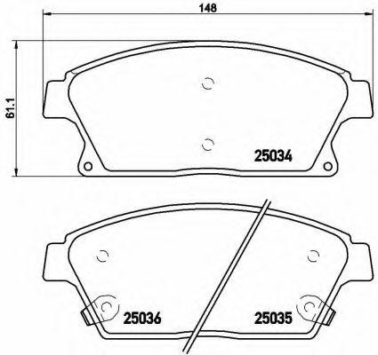 Комплект тормозных колодок, дисковый тормоз BREMBO арт. P59077