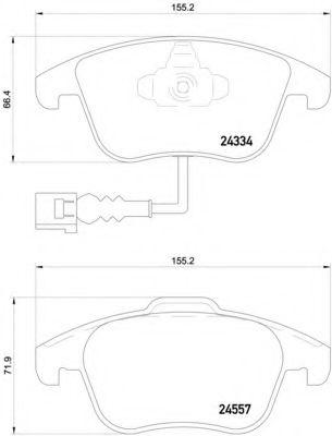 Комплект тормозных колодок, дисковый тормоз BREMBO арт. P85130