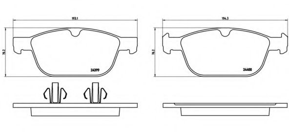 Комплект тормозных колодок, дисковый тормоз BREMBO арт. P86023
