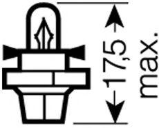 Лампа накаливания, освещение щитка приборов Osram - 2452MFX6