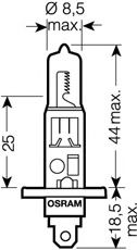 Лампа накаливания, фара дальнего света OSRAM арт. 64150
