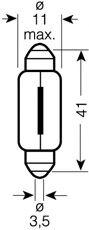 Лампа накаливания, фонарь освещения номерного знака Osram - 6411
