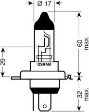 Трансмиссионные Лампа накаливания, фара дальнего света OSRAM арт. 64196