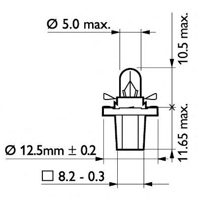 Лампа накаливания, освещение щитка приборов PHILIPS арт. 13598CP