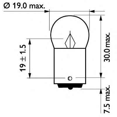 Лампа накаливания, фонарь освещения номерного знака PHILIPS арт. 13814CP