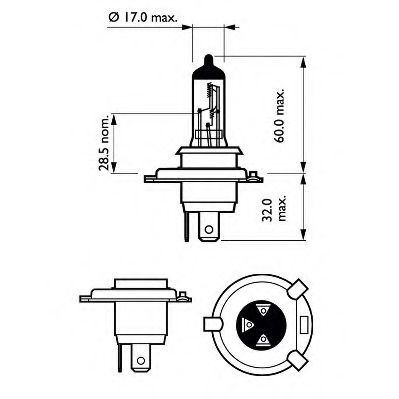 Лампа накаливания, фара дальнего света PHILIPS арт. 12342PRC1