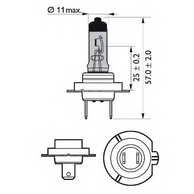 Лампа накаливания, фара дальнего света PHILIPS арт. 12972WHVSM