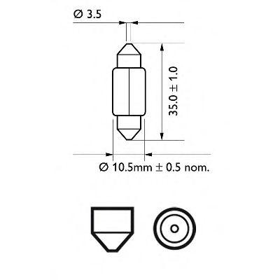 Лампа накаливания, фонарь освещения номерного знака PHILIPS арт. 12844B2