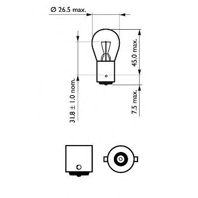 Лампа накаливания, фонарь указателя поворота PHILIPS арт. 12498CP