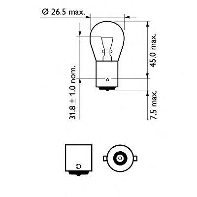 Лампа накаливания, фонарь указателя поворота PHILIPS арт. 12498VPB2