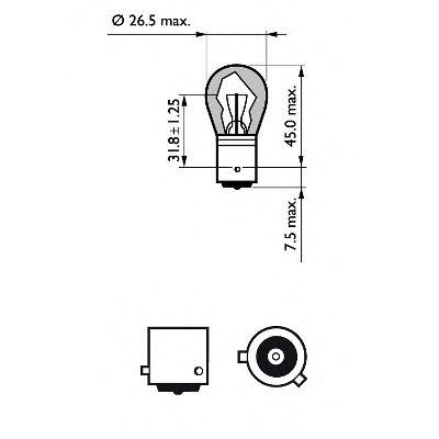Лампа накаливания, фонарь указателя поворота PHILIPS арт. 12496LLECOCP