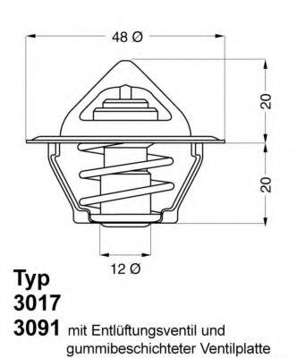 Термостат, охлаждающая жидкость WAHLER арт. 301792D50
