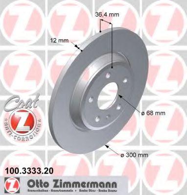 Диск гальмівний ZIMMERMANN 100333320