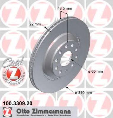 Диск гальмівний ZIMMERMANN 100330920
