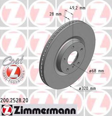 Диск гальмівний ZIMMERMANN 200252820
