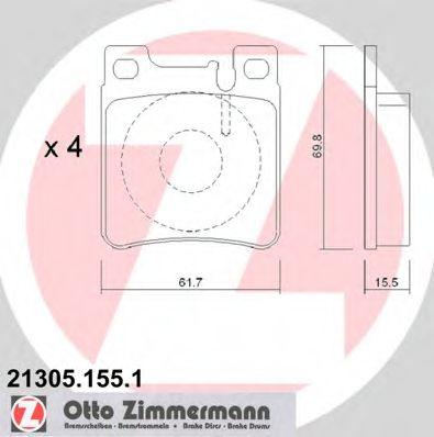 Комплект тормозных колодок, дисковый тормоз ZIMMERMANN арт.