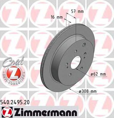 Диск гальмівний ZIMMERMANN 540249520