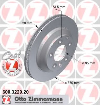 Диск гальмівний ZIMMERMANN 600322920