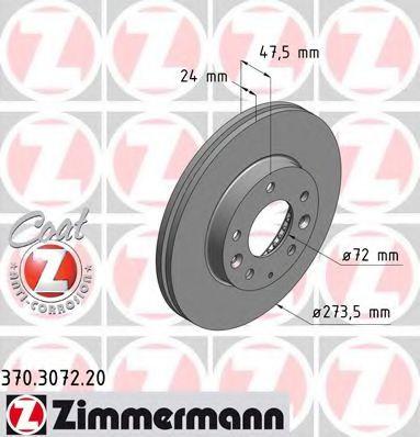 Тормозной диск ZIMMERMANN арт. 370307220