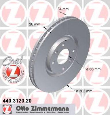 Диск гальмівний ZIMMERMANN 440312020