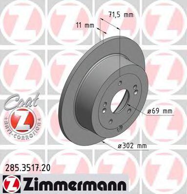 Диск гальмівний ZIMMERMANN 285351720