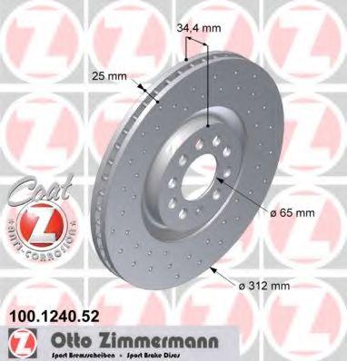 Диск гальмівний ZIMMERMANN 100124052